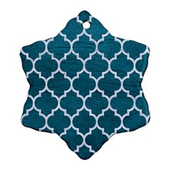 Tile1 White Marble & Teal Leather Ornament (snowflake)