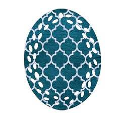 Tile1 White Marble & Teal Leather Oval Filigree Ornament (two Sides)