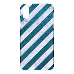Stripes3 White Marble & Teal Leather (r) Apple Iphone X Hardshell Case