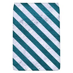 Stripes3 White Marble & Teal Leather Flap Covers (l)