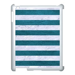 Stripes2white Marble & Teal Leather Apple Ipad 3/4 Case (white)