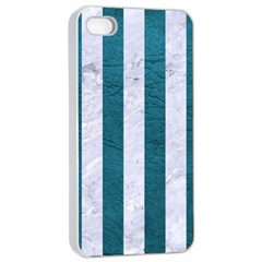 Stripes1 White Marble & Teal Leather Apple Iphone 4/4s Seamless Case (white)