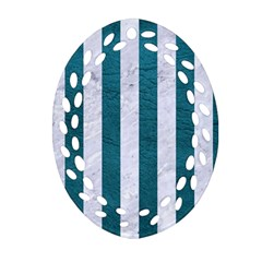 Stripes1 White Marble & Teal Leather Oval Filigree Ornament (two Sides)