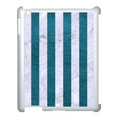 Stripes1 White Marble & Teal Leather Apple Ipad 3/4 Case (white)