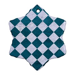 Square2 White Marble & Teal Leather Ornament (snowflake)