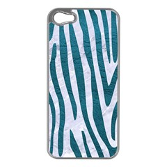 Skin4 White Marble & Teal Leather Apple Iphone 5 Case (silver)
