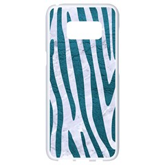 Skin4 White Marble & Teal Leather Samsung Galaxy S8 White Seamless Case