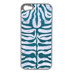 Skin2 White Marble & Teal Leather (r) Apple Iphone 5 Case (silver)