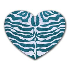 Skin2 White Marble & Teal Leather Heart Mousepads