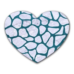 Skin1 White Marble & Teal Leather Heart Mousepads