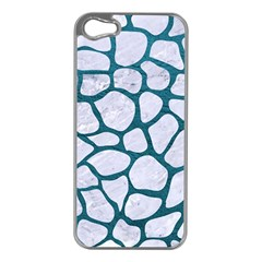 Skin1 White Marble & Teal Leather Apple Iphone 5 Case (silver)