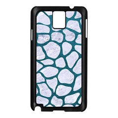 Skin1 White Marble & Teal Leather Samsung Galaxy Note 3 N9005 Case (black)