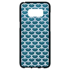 Scales3 White Marble & Teal Leather Samsung Galaxy S8 Black Seamless Case