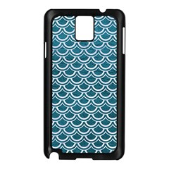 Scales2 White Marble & Teal Leather Samsung Galaxy Note 3 N9005 Case (black)