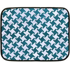 Houndstooth2 White Marble & Teal Leather Double Sided Fleece Blanket (mini)