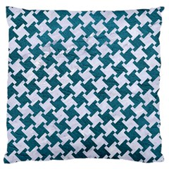 Houndstooth2 White Marble & Teal Leather Large Cushion Case (one Side)