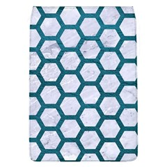 Hexagon2 White Marble & Teal Leather (r) Flap Covers (l)