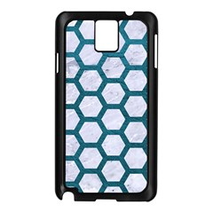 Hexagon2 White Marble & Teal Leather (r) Samsung Galaxy Note 3 N9005 Case (black)
