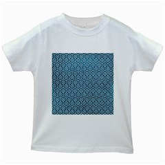 Hexagon1 White Marble & Teal Leather Kids White T Shirts