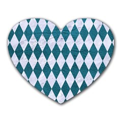 Diamond1 White Marble & Teal Leather Heart Mousepads