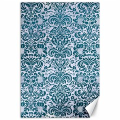 Damask2 White Marble & Teal Leather (r) Canvas 12  X 18