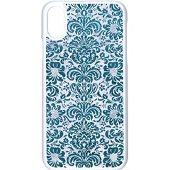Damask2 White Marble & Teal Leather (r) Apple Iphone X Seamless Case (white)