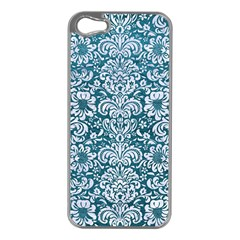 Damask2 White Marble & Teal Leather Apple Iphone 5 Case (silver)