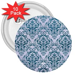 Damask1 White Marble & Teal Leather (r) 3  Buttons (10 Pack)