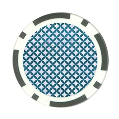 Circles3 White Marble & Teal Leather (r) Poker Chip Card Guard (10 Pack)