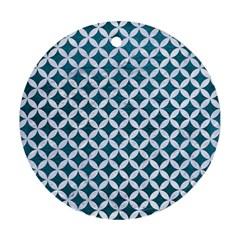 Circles3 White Marble & Teal Leather Ornament (round)