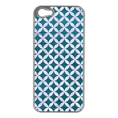 Circles3 White Marble & Teal Leather Apple Iphone 5 Case (silver)