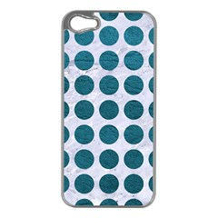 Circles1 White Marble & Teal Leather (r) Apple Iphone 5 Case (silver)