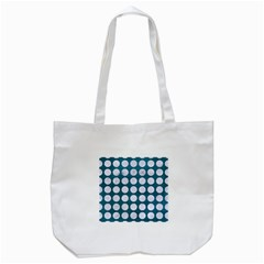 Circles1 White Marble & Teal Leather Tote Bag (white)