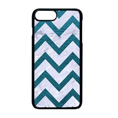 Chevron9 White Marble & Teal Leather (r) Apple Iphone 8 Plus Seamless Case (black)