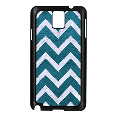 Chevron9 White Marble & Teal Leather Samsung Galaxy Note 3 N9005 Case (black)