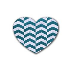 Chevron2 White Marble & Teal Leather Heart Coaster (4 Pack)