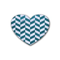 Chevron1 White Marble & Teal Leather Heart Coaster (4 Pack)