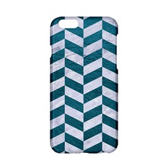 Chevron1 White Marble & Teal Leather Apple Iphone 6/6s Hardshell Case
