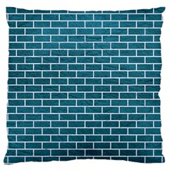 Brick1 White Marble & Teal Leather Large Cushion Case (one Side)