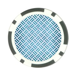 Woven2 White Marble & Teal Brushed Metal (r) Poker Chip Card Guard (10 Pack)