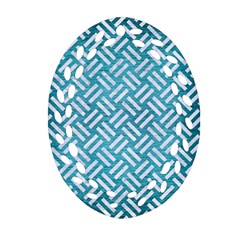 Woven2 White Marble & Teal Brushed Metal Oval Filigree Ornament (two Sides)