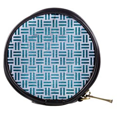 Woven1 White Marble & Teal Brushed Metal (r) Mini Makeup Bags