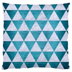 Triangle3 White Marble & Teal Brushed Metal Large Cushion Case (one Side)