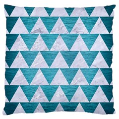 Triangle2 White Marble & Teal Brushed Metal Large Cushion Case (one Side)
