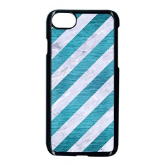 Stripes3 White Marble & Teal Brushed Metal (r) Apple Iphone 8 Seamless Case (black)