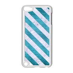 Stripes3 White Marble & Teal Brushed Metal Apple Ipod Touch 5 Case (white)