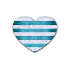 Stripes2white Marble & Teal Brushed Metal Rubber Coaster (heart)
