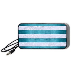 Stripes2white Marble & Teal Brushed Metal Portable Speaker