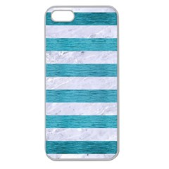 Stripes2white Marble & Teal Brushed Metal Apple Seamless Iphone 5 Case (clear)