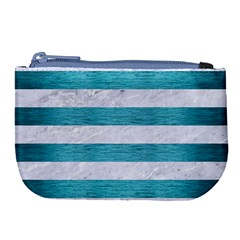 Stripes2white Marble & Teal Brushed Metal Large Coin Purse